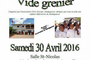 Foire aux livres et vide grenier à Granville ce samedi 30 avril toute la journée à partir de 9h 30, l'argent récolté sera versé à l'ONG E.M.A. Venez nombreux!