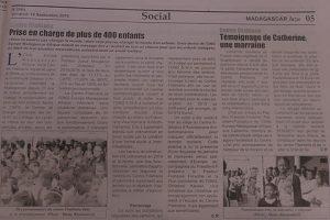Un article sur le Centre Fitahiana de l'ONG E.M.A dans le journal quotidien malgache «Madagascar Malaza»